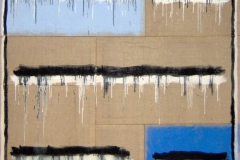 STRISCE COLANTI,  2007  Acrylic on jute,  250 x 250 cm