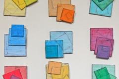 INSTALLAZIONE DI DIPINTI-SCULTURE,  2009  Acrylic on canvas,  110 x 110 cm