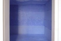 INSTALLAZIONE-AMBIENTE (AZZURRA),  2010  Acrylic on canvas, wooden structure,  238 x 570 x 380 cm