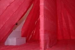 PROGETTO PER UN'INSTALLAZIONE - AMBIENTE PER LA GALLERIA STUDIO G7 a Bologna (Italy), 2011  Acrylic on canvas, wooden structure, cardboard. Detail