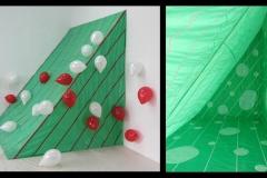 INSTALLAZIONE-AMBIENTE (VERDE), 2011  Plastics and masking tape, wooden structure,  250 x 200 x 245 cm
