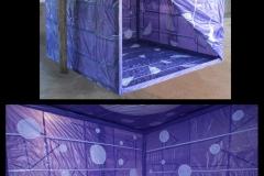 INSTALLAZIONE-AMBIENTE (VIOLA), 2012  Plastics and masking tape, wooden structure,  230 x 230 x 230 cm